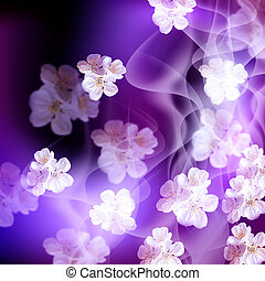 Apple flowers - Background with apple flowers and smoke