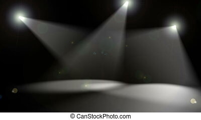 Spotlights on Black - Looping animation with three...
