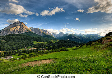 Panoramic view at Scuol - Panoramic view on late afernoon at...