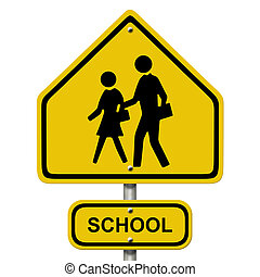 School Crosswalk Warning Sign - An American road warning...