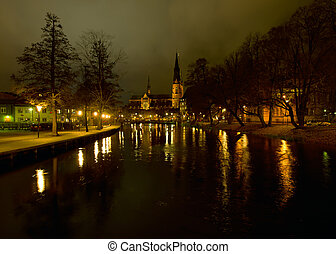 Uppsala by night - A scenic view of Uppsala by night with...