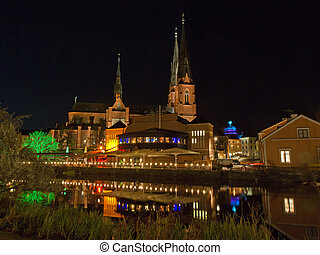 Uppsala, west side of Fyris river by night - A scenic view...