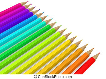 Color pencil line up - Rendered artwork with white...