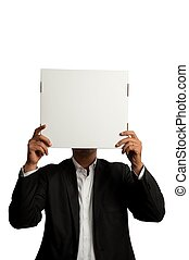 Businessman with blank carton - Businessman with a blank...