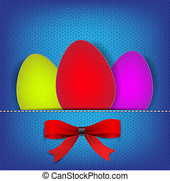 Easter background with stiched eggs and colorful bows