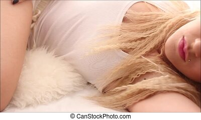 Amazing blonde in white bed - Blonde girl wearing white lace...
