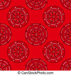 Red flowers are hand-drawn. Vector seamless background.