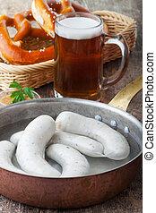 Bávaro, Salchichas, blanco,  Pretzel