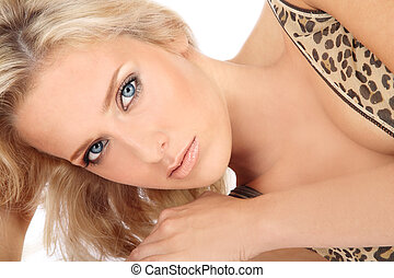 Blue-eyed blond - Portrait of young beautiful blond girl...