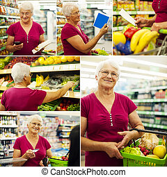 Senior woman during shopping
