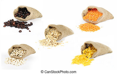 Selection of grain foods in bags - Selection of grains...