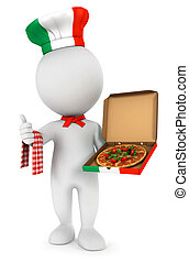3d white people italian pizza cook, isolated white...
