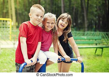 Happy children on playground