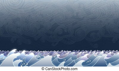 Stormy Waves - Animation with layers of waves bobbing up and...
