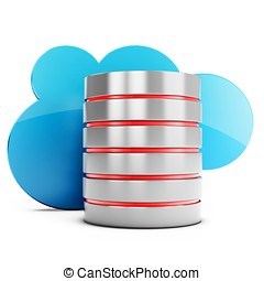 3d database server with cloud on white background