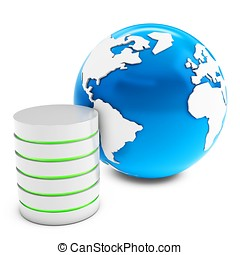 3d database server with earth globe