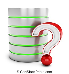 3d database server with red question mark isolated on white...