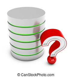 3d database server with red question mark