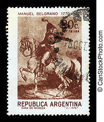 General Manuel Belgrano, portrait in uniform on horseback -...