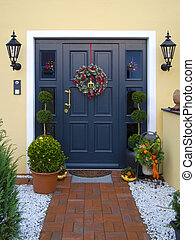 doorway - historical wooden front door decorated with...
