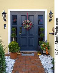 doorway - historical wooden front door decorated with...