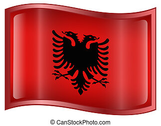 Albania Flag Icon, isolated on white background.