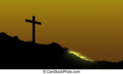 Sunrise Behind Cross - The sun rises behind Jesus's cross....