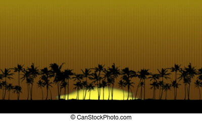Sunrise in Paradise - Sun rising over the palm trees. The...