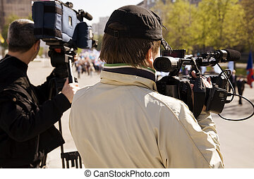 news reporter - editorial photo, special toned, focus point...
