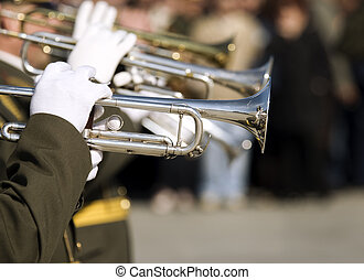 army brass band on Victory day in Russia - editorial...