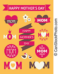 Mother's Day Design Elements - A set of cute Mother's Day...