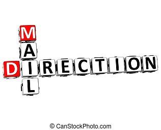 3D Mail Direction Crossword on white background