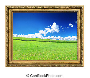 golden frame and blissful filed view, photo inside is my...