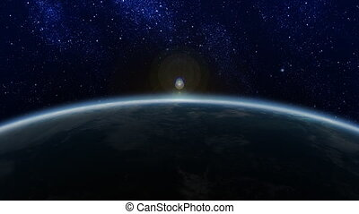 Sunrise in Space - Sunrise beyond Earths horizon in space...