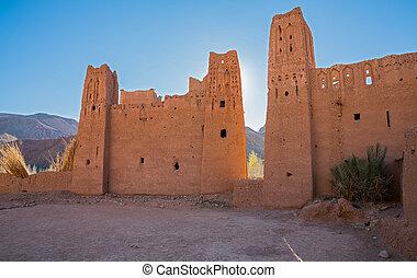 Morocco Kasbah back light - Wide angle view of Morocco...