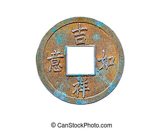 Old Chinese coin, isolated on white background