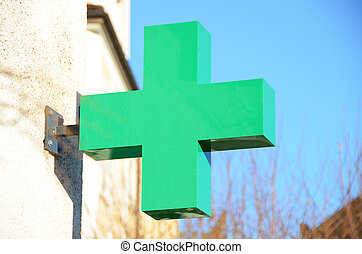 Pharmacy sign on the wall
