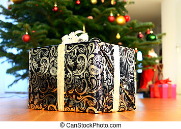 Gift box under the Christmas tree