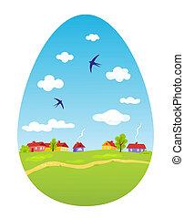 Spring landscape in the form of Easter egg