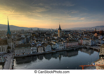 View from Grossmuenster, Z�rich, Switzerland.