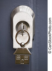 House keys in a grey door - House keys and keyring in a grey...