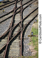Railway track - Railroad tracks with a switch