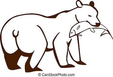 Bear with a fish - Vector illustration of a bear holding a...