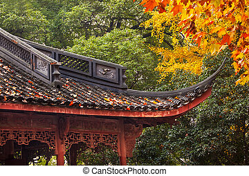 Ancient Chinese House Roof Autumn Leaves Tree West Lake...