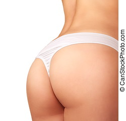 Sexy buttocks in lingerie isolated on white background. Closeup