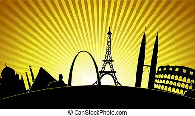 World Landmarks 2 - A silhouette of some of the worlds most...