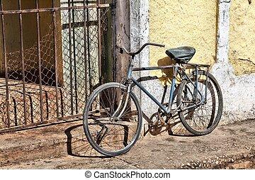 Old bicycle - Sancti Spiritus, Cuba - old junk bicycle still...