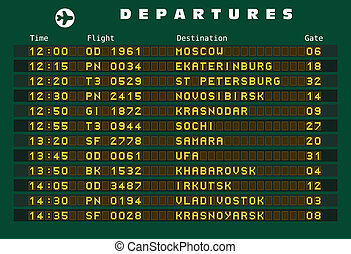 Russia destinations - Departure board - destination airports...