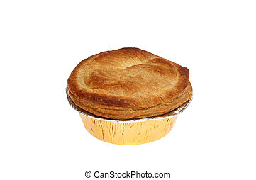Cooked pie - Cooked meat pie in a foil dish isolated against...