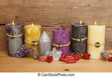 Feng Shui candles - Burning Feng Shui candles, crystals and...